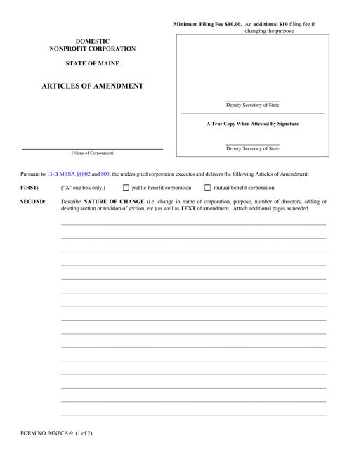 Form MNPCA-9  Printable Pdf