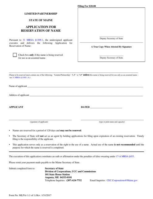 Form MLPA-1  Printable Pdf