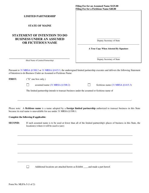 Form MLPA-5  Printable Pdf