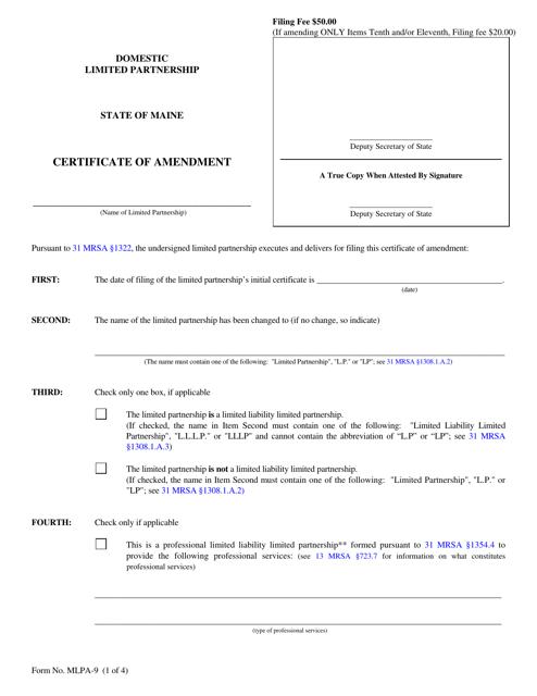 Form MLPA-9  Printable Pdf