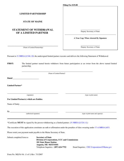 Form MLPA-9A  Printable Pdf