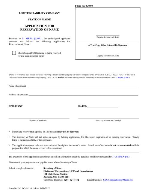 Form MLLC-1  Printable Pdf