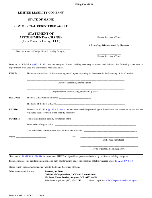 Form MLLC-3-CRA Printable Pdf