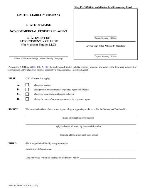Form MLLC-3-NCRA  Printable Pdf