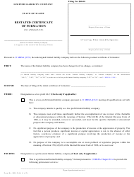 "Form MLLC-6A ""Restated Certificate of Formation (For a Maine LLC)"" - Maine"