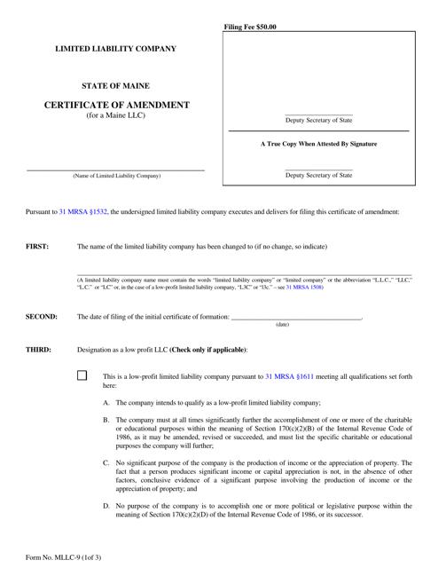 Form MLLC-9  Printable Pdf