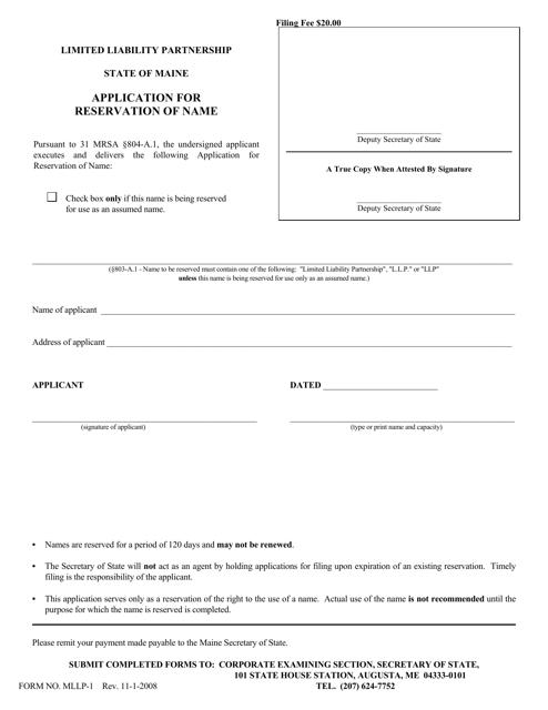 Form MLLP-1  Printable Pdf