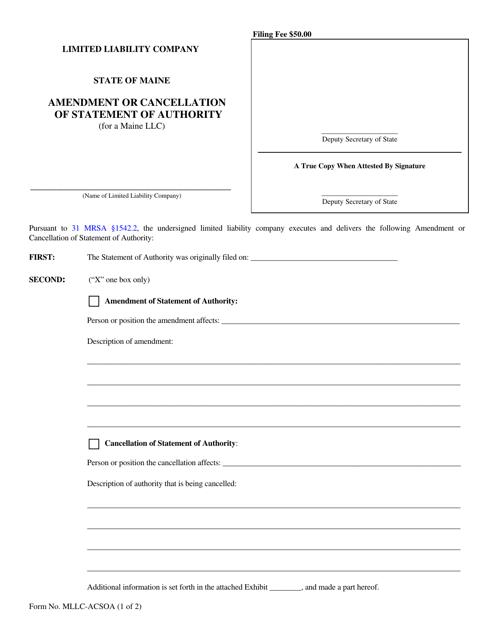 Form MLLC-ACSOA  Printable Pdf