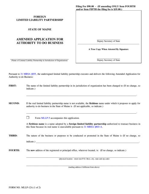 Form MLLP-12A  Printable Pdf