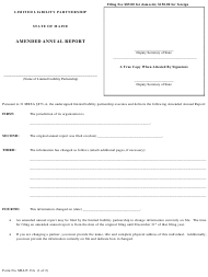 """Form MLLP-13A """"Amended Annual Report"""" - Maine"""