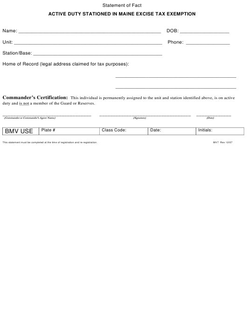 Form MV7  Printable Pdf
