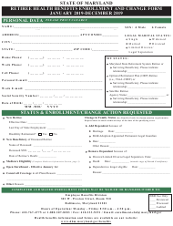 """Retiree Health Benefits Enrollment and Change Form"" - Maryland, 2019"