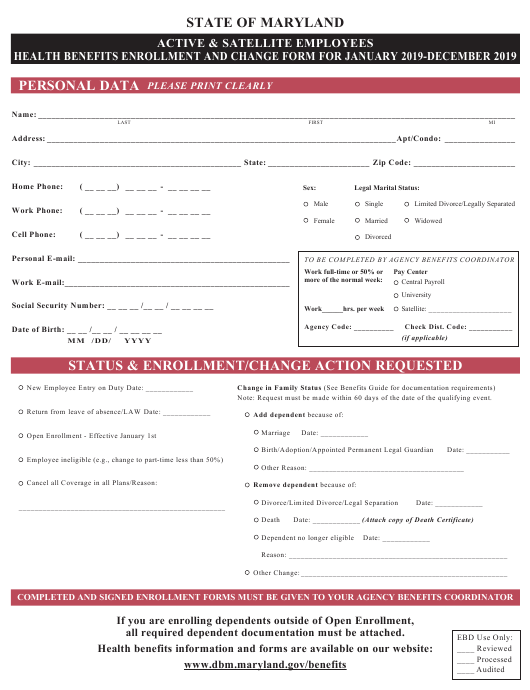 """""""Active and Satellite Employees Health Benefits Enrollment and Change Form"""" - Maryland Download Pdf"""
