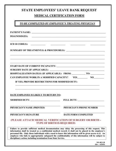 Form MS402-LB Printable Pdf