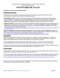 """Form OCC1215 """"Inventario De Salud"""" - Maryland"""