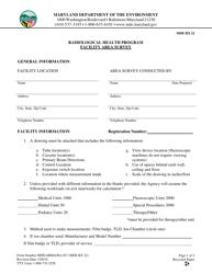Form RX 22 Facility Area Survey - Radiological Health Program - Maryland