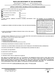 "Form MDE/ARMA/LIC.001 ""Application for a Radioactive Materials License"" - Maryland"