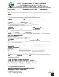 "Form MDE/ARA/PER.029 ""Reciprocity Notification"" - Maryland"