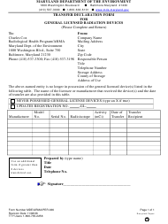 "Form MDE/ARMA/PER.036 ""Transfer Declaration Form for General Licensed Radiation Devices"" - Maryland"