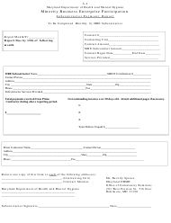"Form A-4 ""Subcontractor Payment Report - Minority Business Enterprise Participation"" - Maryland"