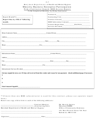 "Form A-3 ""Prime Contractor Unpaid Mbe Invoice Report - Minority Business Enterprise Participation"" - Maryland"