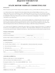 "DHMH Form 3234 ""Request for Refund of State Motor Vehicle Commuting Fee"" - Maryland"
