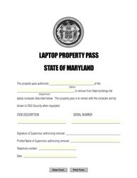 """Laptop Property Pass"" - Maryland"