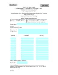 """""""Request to Add/Change/Delete Pbx Billing Information"""" - Maryland"""