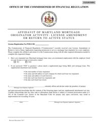 """Affidavit of Maryland Mortgage Originator Activity - License Amendment or Return to Active Status"" - Maryland"
