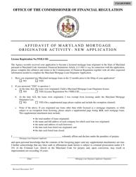 """""""Affidavit of Maryland Mortgage Originator Activity - New Application Form"""" - Maryland"""