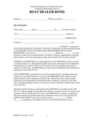 "DNR Form B-142A ""Boat Dealer Bond"" - Maryland"