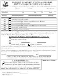 "DNR Form F-22 ""Freshwater/Limited Fishing Guide License"" - Maryland"