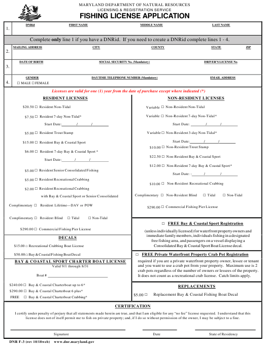 DNR Form F-3 Download Fillable PDF, Fishing License