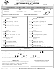 "DNR Form H-6 ""Hunting License Application"" - Maryland"
