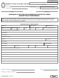 """Form DC-ERPO-001A """"Addendum to Petition for Extreme Risk Protective Order (Description of Respondent)"""" - Maryland"""