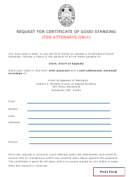 """Request for Certificate of Good Standing (For Attorneys Only)"" - Maryland"
