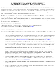 """Exempt Organization Fund-Raising Notice Form"" - Maryland"