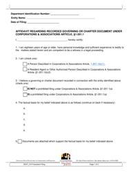 """Affidavit Regarding Recorded Governing or Charter Document Under Corporations & Associations Article, 1-201.1"" - Maryland"