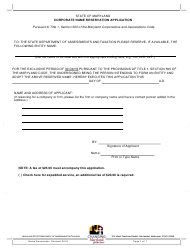 Corporate Name Reservation Application Form - Maryland