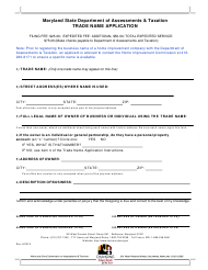 Trade Name Application Form - Maryland