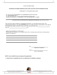 Corporate Name Reservation Application for Re-reservation - Maryland