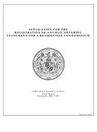 """Application for the Registration of a Public Offering Statement for a Residential Condominium"" - Maryland"