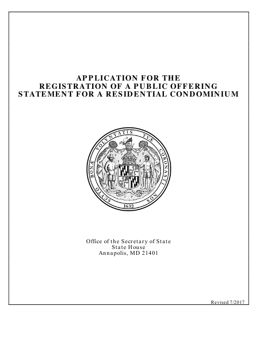 """""""Application for the Registration of a Public Offering Statement for a Residential Condominium"""" - Maryland Download Pdf"""
