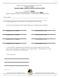 Trade Name Cancellation Application Form - Maryland