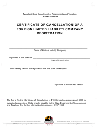 Certificate of Cancellation of a Foreign Limited Liability Company Registration - Maryland