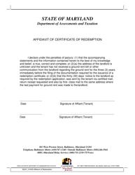 """Affidavit of Certificate of Redemption"" - Maryland"