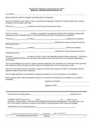 Marital Separation Affidavit Form - Maryland