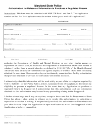 """Form MSP77R-3 """"Authorization for Release of Information to Purchase a Regulated Firearm"""" - Maryland"""