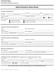 Form ADM 1 Administrative Data Sheet - Massachusetts
