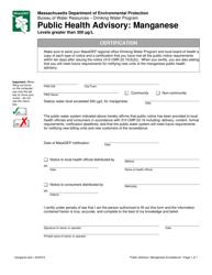 """Manganese Certification Form for Public Notice of a Manganese Health Advisory"" - Massachusetts"